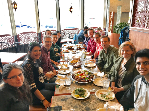 Arnosti lab members at lunch, April 2017